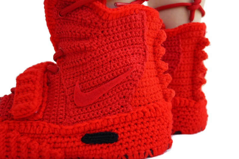 0d1cf7dd1d84 Crochet Air Yeezy 2 Red October Knitted Slippers Air Yeezy 2