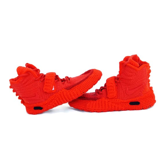 new style cd0fc f31b7 Crochet Air Yeezy 2 Red October Knitted Slippers, Air Yeezy 2 Red October  Men's High Top Ankle Boots Lace Up Knitting Sneaker Slippers NAY2O
