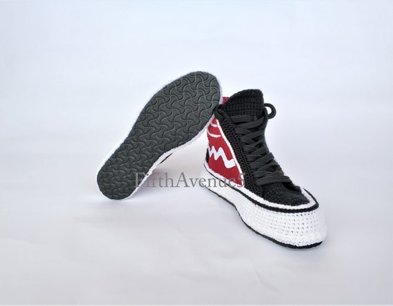 Home Slippers Red Black Raısın Comfortable Style Crochet and Mild Knitted Crochet Type House Shoe X Breathable Home Sneakers Real tUwf7Y