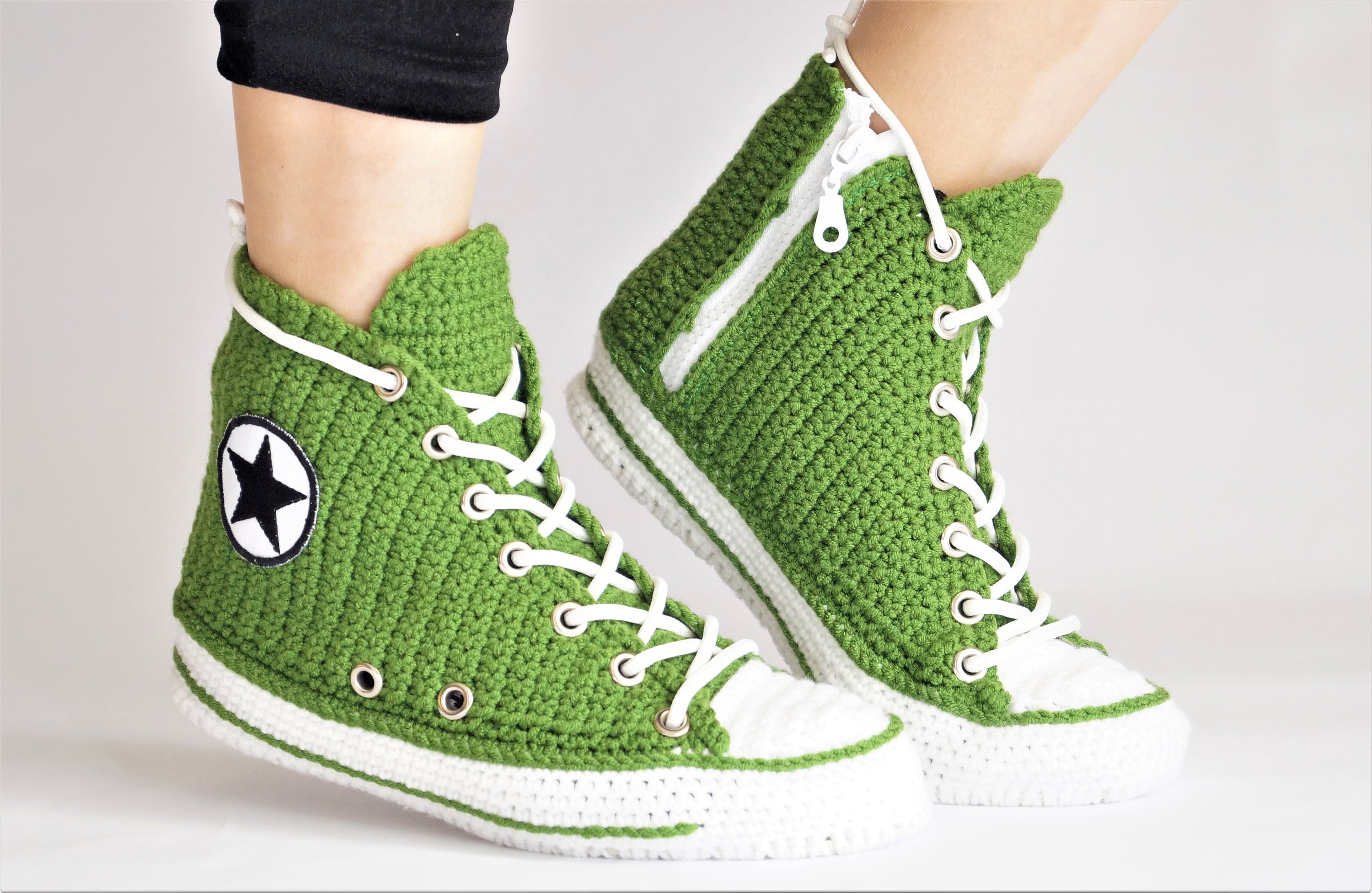 7d176f1c334b Knitted Green Converse Slippers For Men And Women Converse