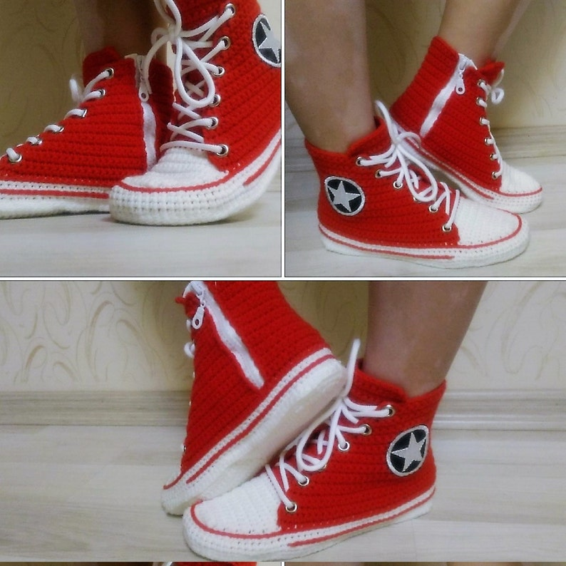 newest collection 03484 1f942 Crochet Converse All Star Hi Red Canvas Slippers Crochet Red   Etsy