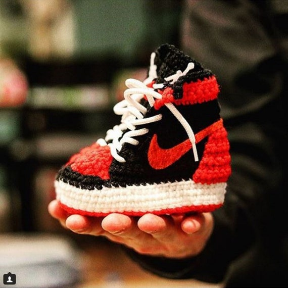 Air Jordan Baby Crochet Sneakers Air Jordan Shoes Red Air   Etsy
