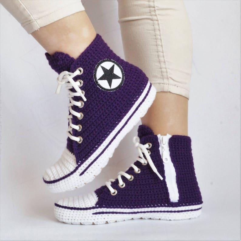 b21051269c9b Crochet Purple Converse Slipper Crochet House Slippers For