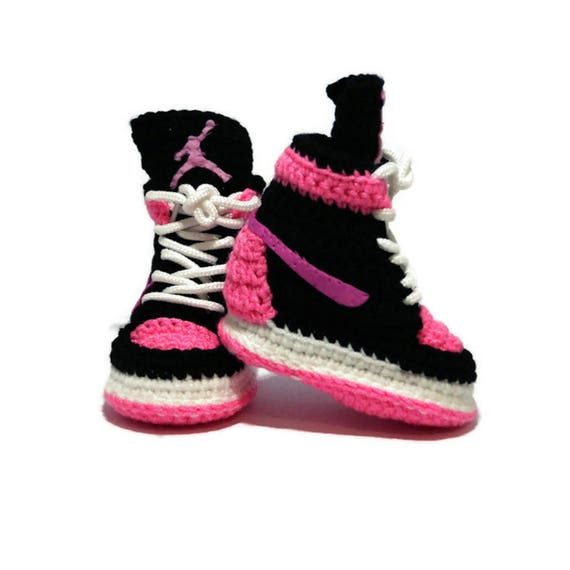 sports shoes d921f 665c3 Crochet Baby Air jordan infant Girl Pink Sneakers Newborn Soft Shoes  Slippers, Newborn Baby Shower ideal Gift, Baby Pink Crochet Booties