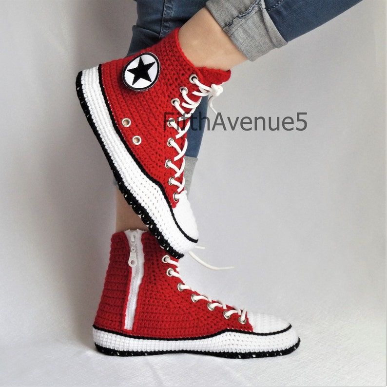 26e1eef31dfd Crochet Style Converse Unisex High Top Red Slippers Knitting
