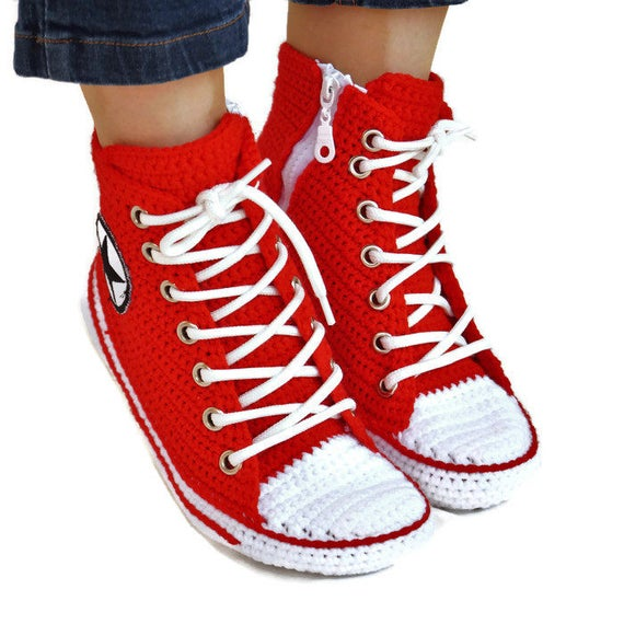 Top Crochet Adult Slippers Converse AHTCRCS Crochet Male and Crochet Converse Shoes Converse Red Women Shoes Red Knitting Hi House fxq0YFXnw
