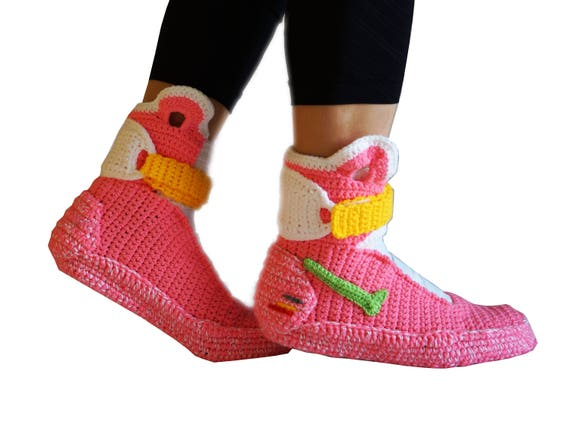 8e0b55397cf1aa Crochet Nike Air Mag Pink Hoverboard Style Slippers for Women
