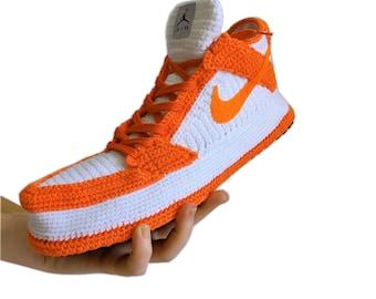 Dunk Low Orange Sneakers, Crochet Handmade Slippers, Custom Knitting Natural Organic Soft Wool Home Shoes, Fleece Plush Custom Booties