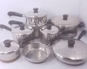 14pc. Set of Revere Ware 1801 Copper Clad Cookware, 4Qt Stock Pot, 7 9 quot Skillets, 3qt Saucepan and 2qt Steamer, 2qt, 1.5qt, 1Qt Saucepans