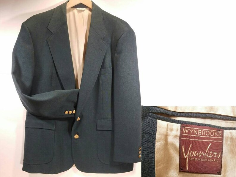 Fully Lined Gold Colored Buttons 2 Button Front Vintage Green Blazer Wynbrooke by Younkers Excellent Condition 44R Single Vent