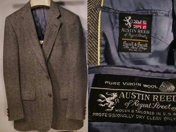 Vintage 40r Austin Reed Tweed Sports Coat With Leather Knot Etsy