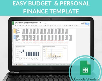 Easy Budget Spreadsheet Template Expense Tracker Family Excel Google Sheets Monthly Planner Debt