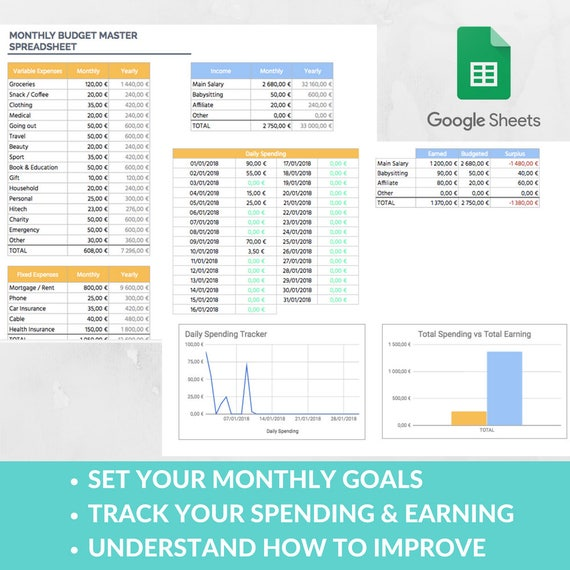 easy budget spreadsheet template expense tracker family etsy