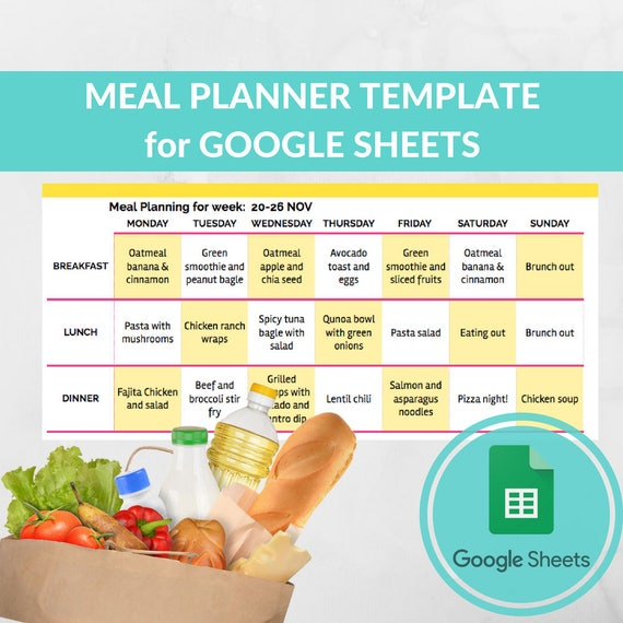 Meal Planner Template Spreadsheet Grocery Planning Excel