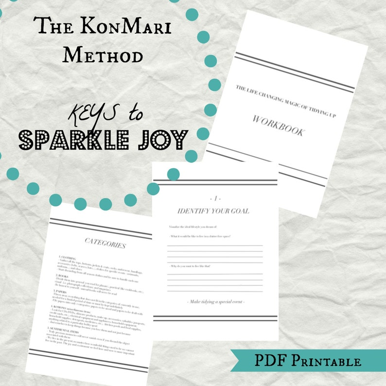 Konmari Method Konmari Checklist Marie Kondo Workbook Pdf Etsy