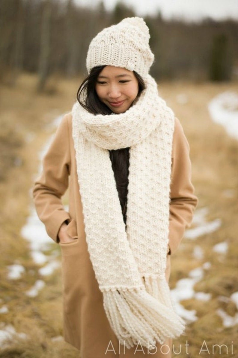 Chunky Dotty Beanies & Scarf Knit Patterns image 0