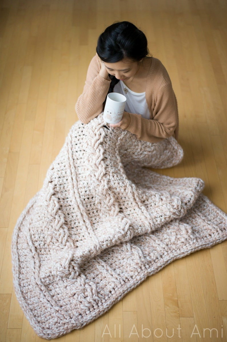 Chunky Braided Cabled Blanket Crochet Pattern image 0