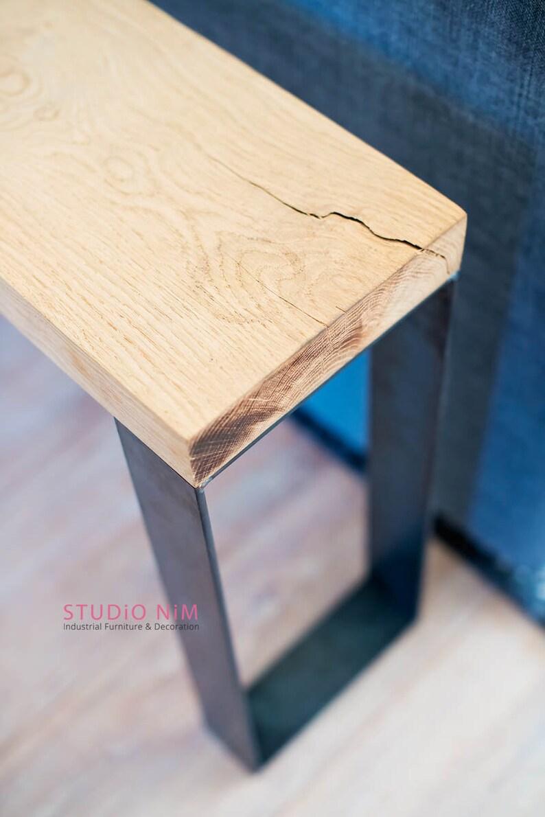 Bijzettafel Modern Design.Bijzettafel Zwart Staal Eiken Modern Design Etsy