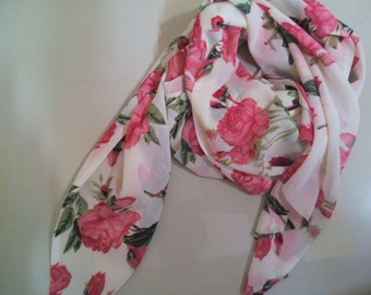 Beige scarf/Georgette scarf/Floral scarf/Summer scarf/Rectangle scarf/Infinity scarf/Women scarf/Long scarf/Gift for her/Handmade/Accessory