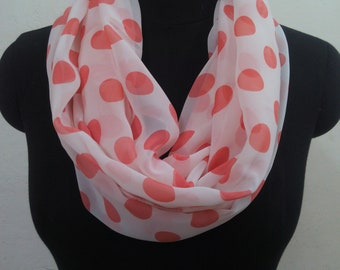 White scarf/Georgette scarf/Polka dots/Rectangle scarf/Infinity scarf/Women scarf/Long scarf/Summer scarf/Gifts for her/Handmade/Accessories