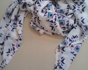 White scarf/Georgette scarf/Ekat pattern/Rectangle Infinity scarf/Women scarf/Long scarf/Summer scarf/Gift for her/Handmade/Accessories
