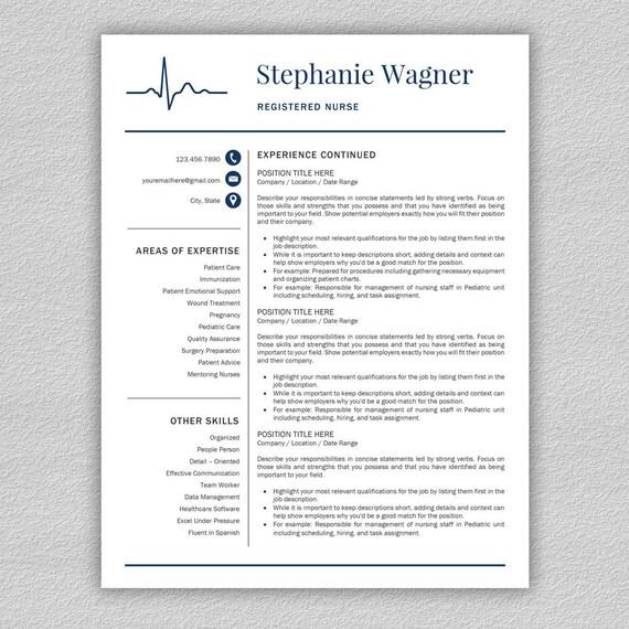 Krankenschwester-Lebenslauf-Vorlage für Word / Arzt Lebenslauf | Etsy
