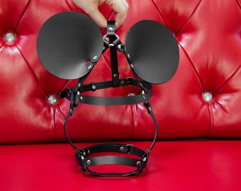 Mickey mouse harness | mask of leather | BDSM mask | Halloween mask | bdsm games | bdsm games | kitten mask | masquerade mask