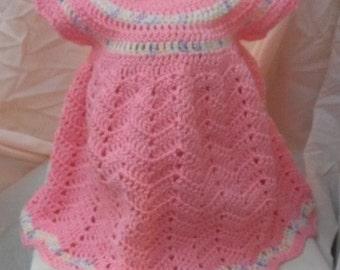 3-6 months Holiday Dress, baby girl dress set, crochet dress, handmade dress,  crocheted baby clothes,baby dress, baby shower gift