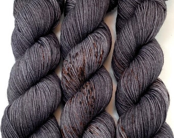 """Hand Dyed Yarn """"Cast Iron"""" Grey Brown Charcoal Backish Rust Speckled Merino Light Fingering Heavy Lace Superwash 822yds 150g"""