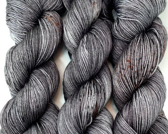 """Hand Dyed Yarn """"Cast Iron"""" Grey Brown Charcoal Backish Rust Speckled Merino Silk Fingering Superwash 438yds 100g"""