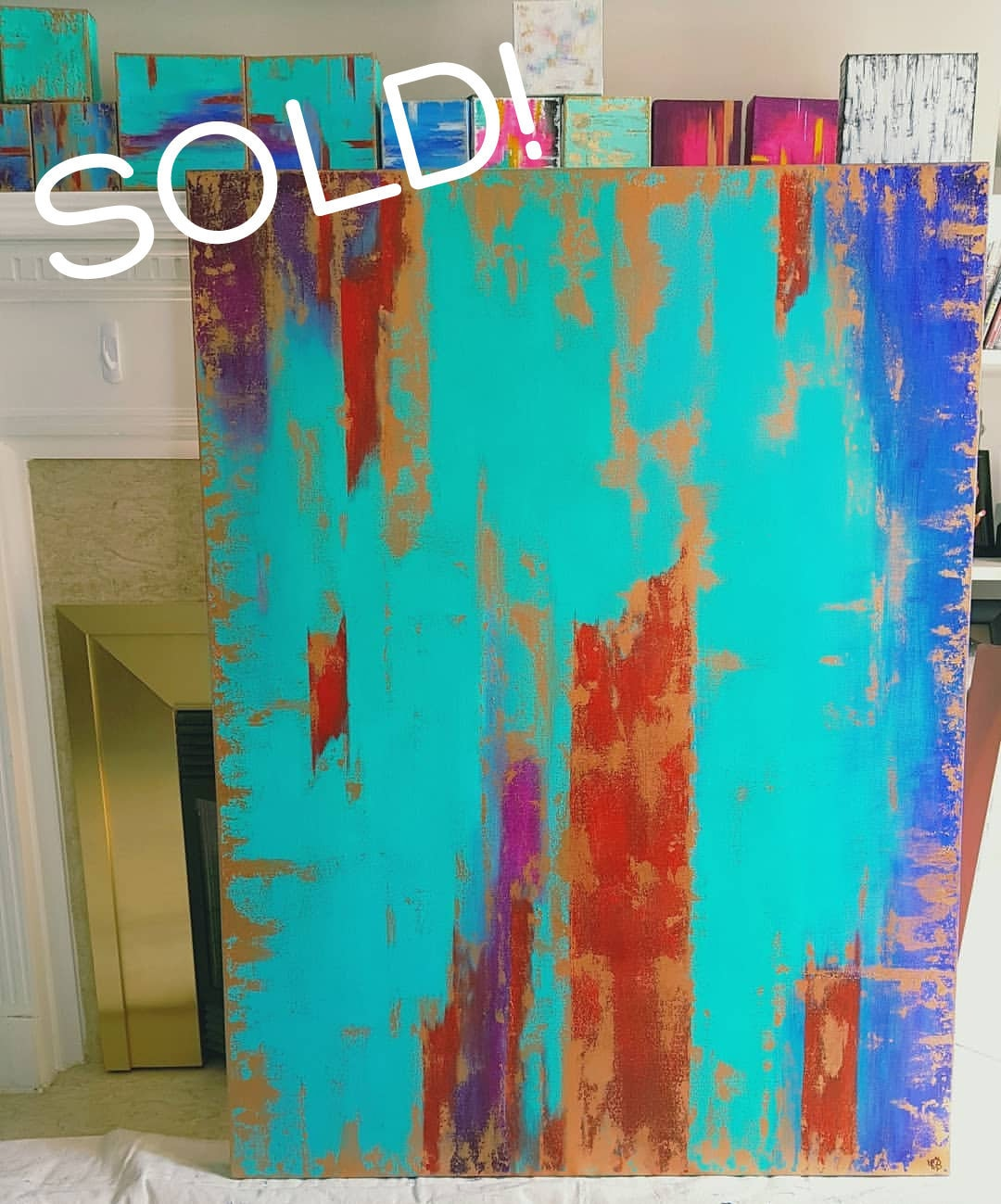 Sold! Patina Blue, Acrylic on Canvas, 36x48