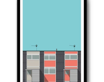 Modernist Architecture, Digital Building Illustration, Span House, Poster Print, Various Colours, A4, A3, Wall Art