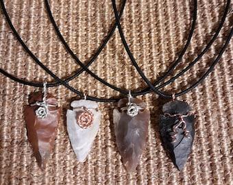 Wire-wrapped Stone Arrow Necklace