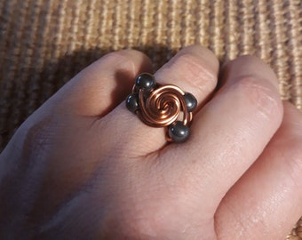 Copper Wire-wrapped Hematite Ring