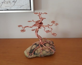 Spiral Copper Wire Tree With Fossil Base