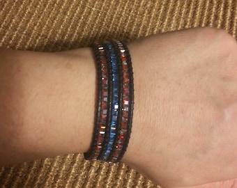 Three Strand Hand-Woven Beaded Bracelet