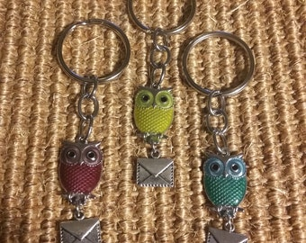Owl With Letter Keychain