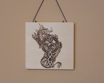 Dragon With Celtic Cross Pyrography Wall Hanging