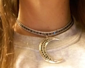 Crescent Moon Woven Beaded Choker Necklace