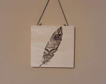 Mysterious Tiger in Feather Pyrography Wall Hanging