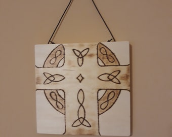 Celtic Cross Pyrography Wall Hanging