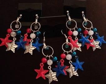 Patriotic Beaded Dangle Earrings