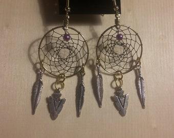 Arrowhead Dream Catcher Earrings