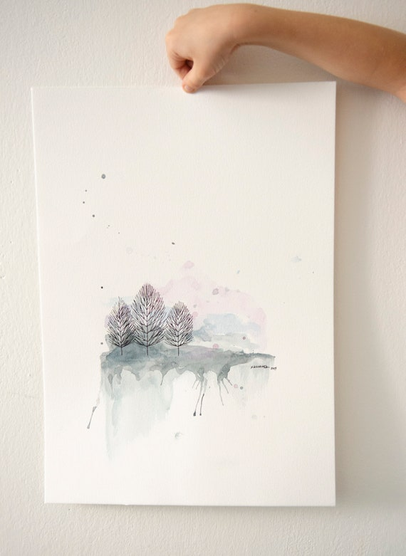 Simple Watercolor Painting Abstract Landscape Paysage Aquarelle Abstraite Calm Colors Minimalist Watercolor Painting Simple Drawing A3