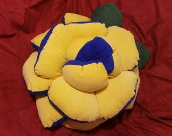 One of a kind Decorative Pillow in Brillant Blue and Canary Yellow colors.