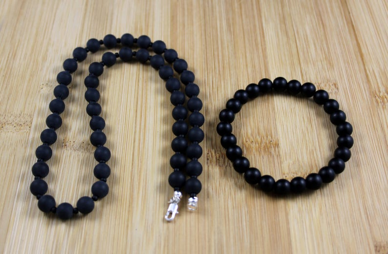 22 Men/'s FrostedMatte Black Onyx Necklace and Matching Bracelet