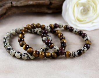 Dalmatian, Mahogany Obsidian & Tiger's Eye Stackable Bracelet Set