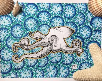 ORIGINAL Zentangle Octopus Art With Gold Gel Outline