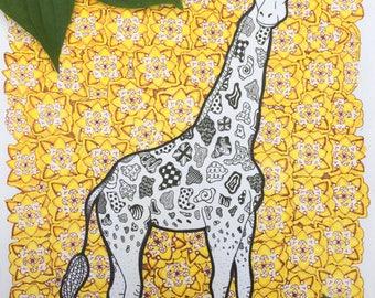 ORIGINAL Zentangle Giraffe Art
