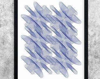 Blue Modern Art, Printable Art, Geometric Art Print, Abstract Art Poster, Minimalist Art, Instant Download, Contemporary Art, Home Decor